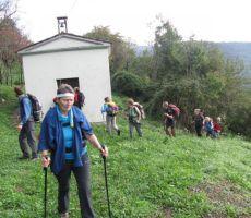 in smo porišli iz gozda do vasice Arbeč...