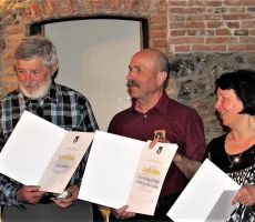 Nagrajenci Jože Mušič.Franc Škarja in Anica Mušič